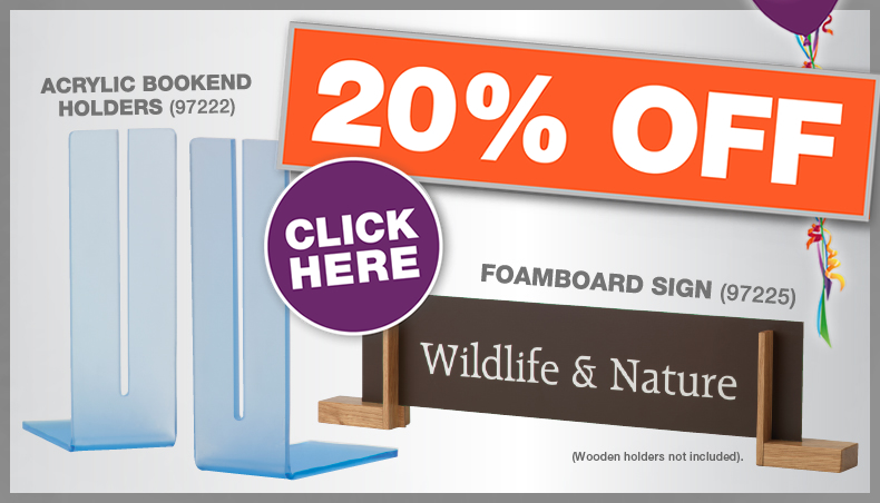 Sign and sign holder offer 20% discount
