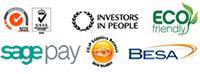 BESA, Investors in People, Sage Pay, ISO, CILIP Gold Member, Eco Friendly