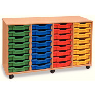 Quad Column Shallow Tray Storage Unit