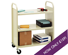 Steel book trolley - 3 flat shelves